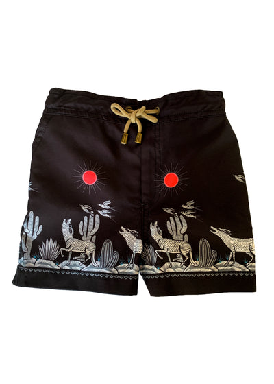 Zeus Coyote printed swim shorts - Black - Thorsun