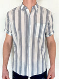 Linen Stripe - Short Sleeve - Blue & White
