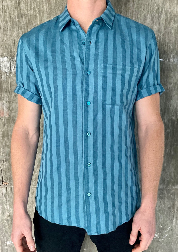 Linen - Short Sleeve - Blue - Thorsun