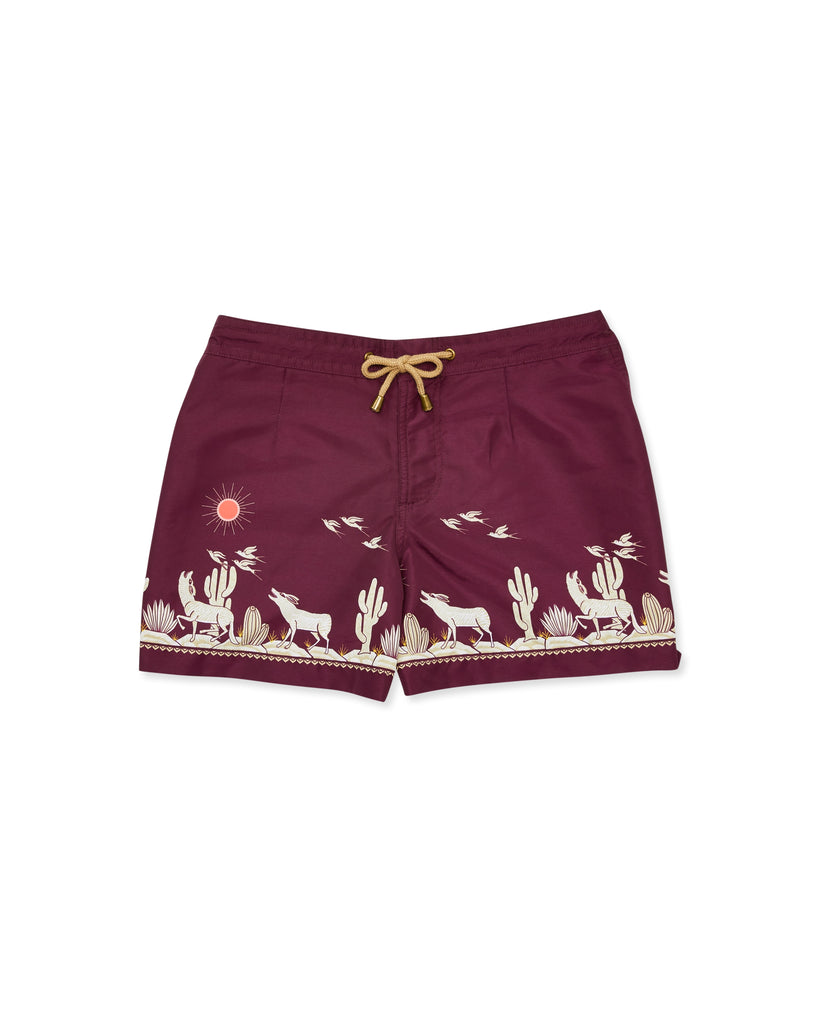 Athena Coyote Swim Shorts in Maroon