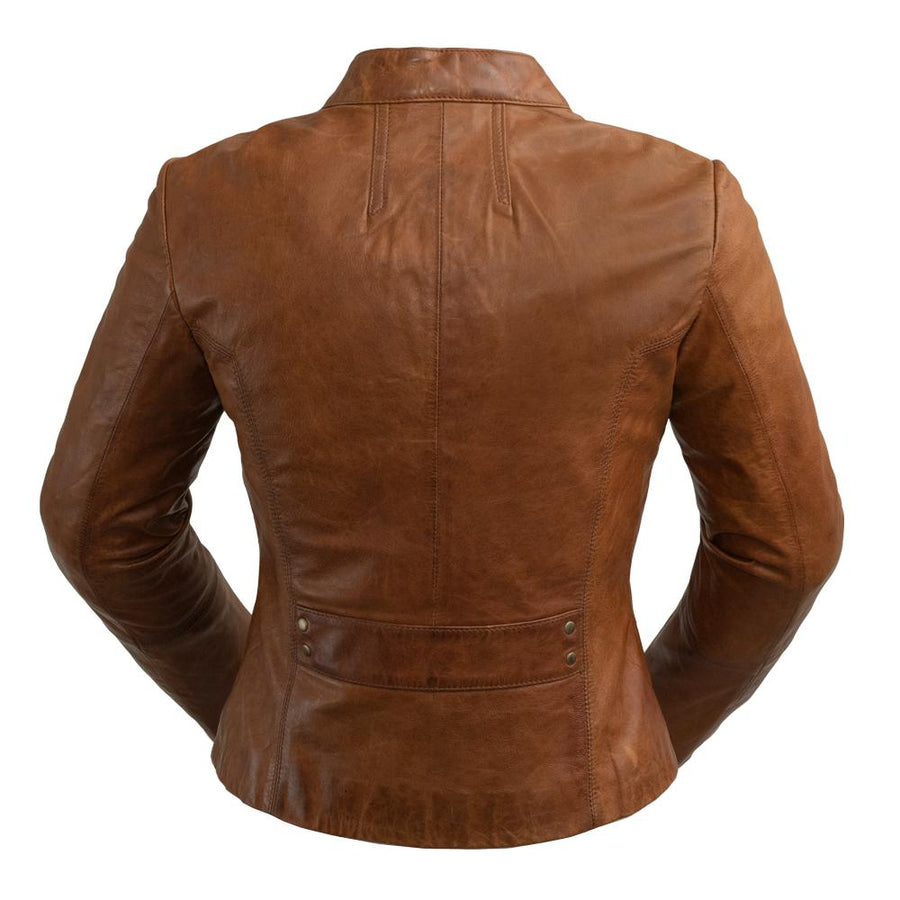 Rexie - Women's Fashion Leather Jacket (Dark Cognac)
