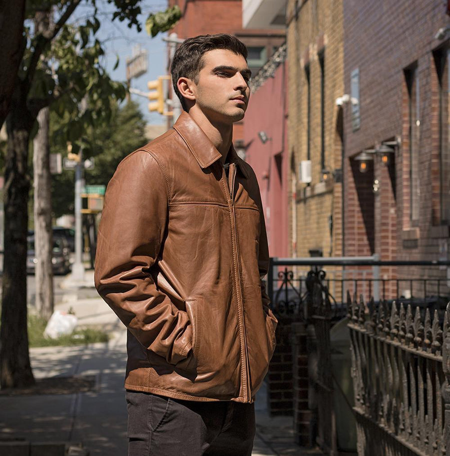 Indiana - Men's Casual Fashion Leather Jacket (Whiskey)