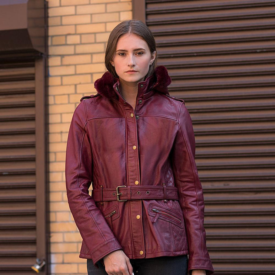 Elle - Women's Leather Jacket (Oxblood)