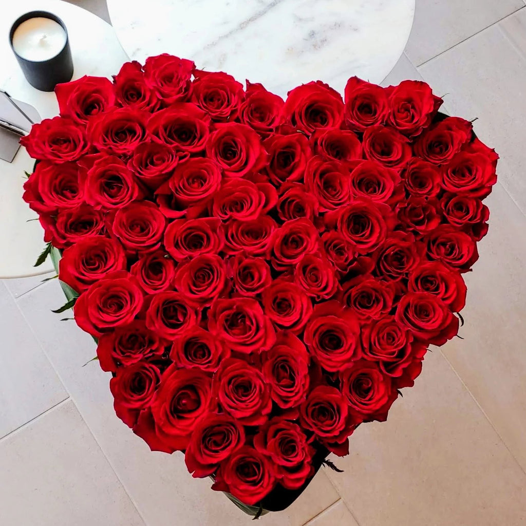 "The Biggest Heart (18"") with 50-60 Fresh Cut Roses! Ready for Valentine's Day delivery."