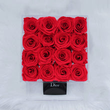 """Rogue Preserved"" 16 Red Roses that Last a Year! - Square Box with Drawer for Jewelry or Makeup"