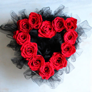 Heart-Shaped Arrangement - Beautiful Fresh Cut Roses - Color Variety Available