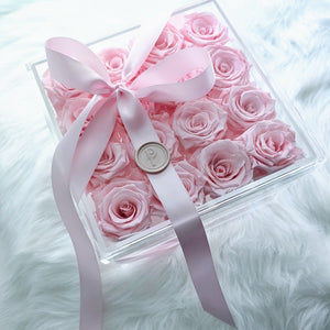 """Pink Delight"" 16 Pink Roses that Last a Year! - Square Box with Drawer for Jewelry or Makeup"