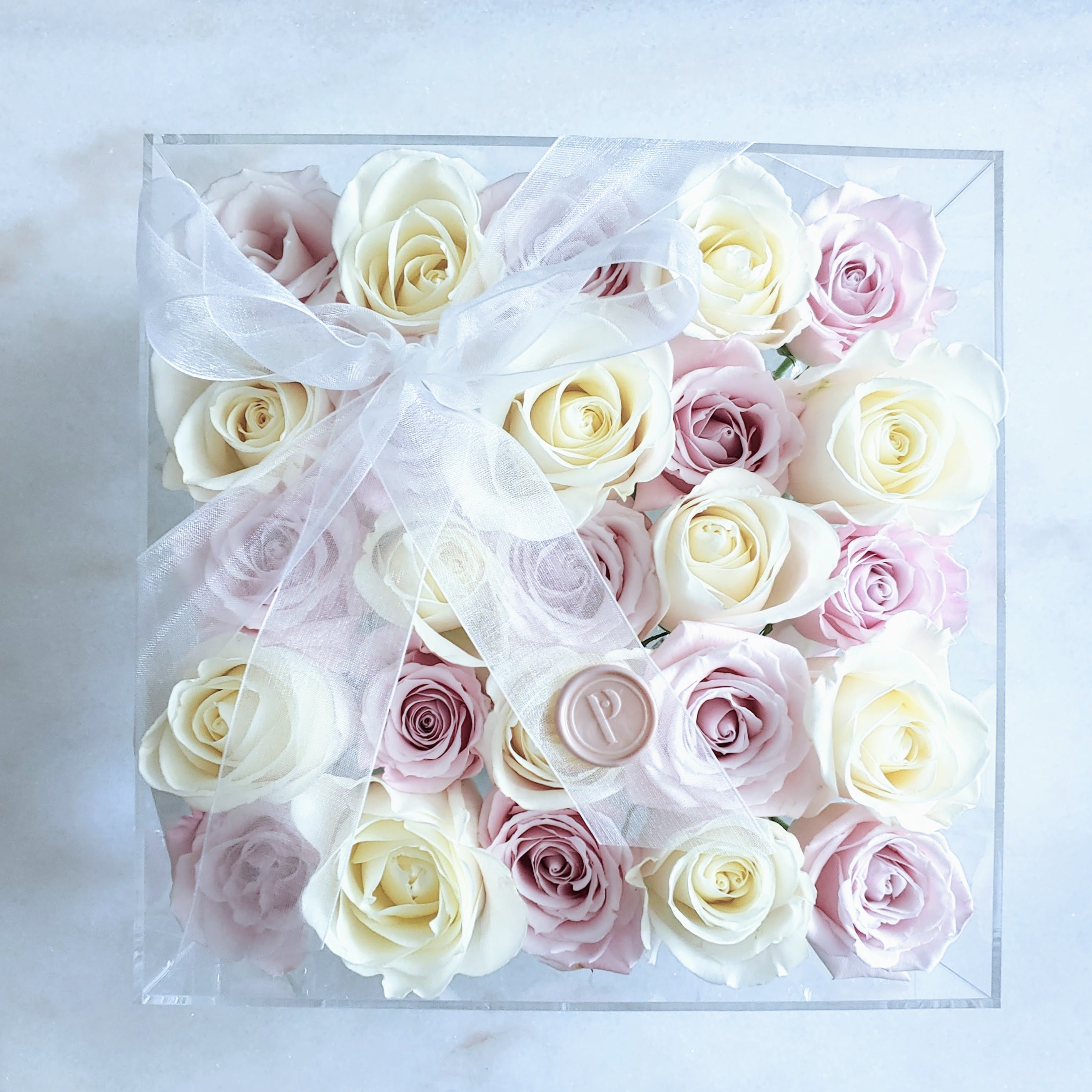 Pick Two Different Colors! Custom Square Acrylic Box of 25 Roses - Color Variety Available
