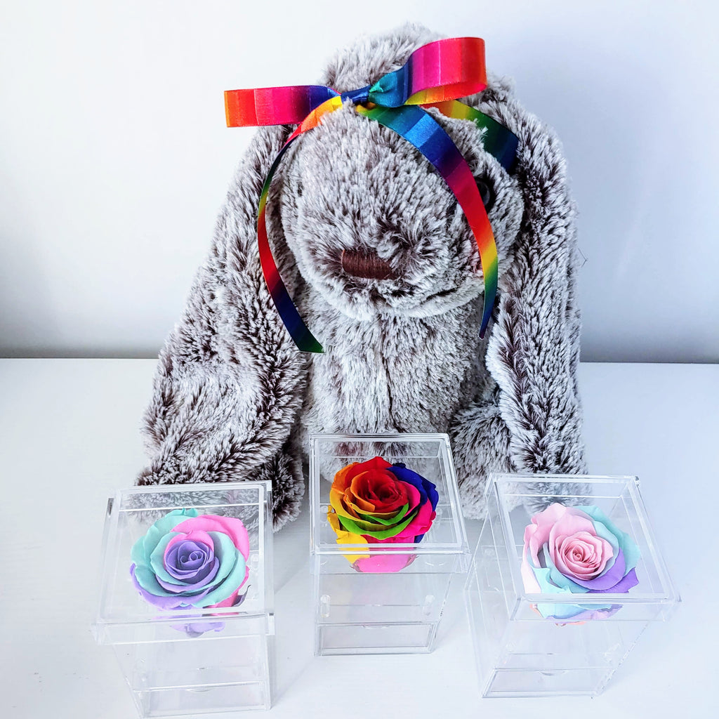 "Preserved Single Rainbow/Unicorn Rose that Lasts a Year ""The Chloe Box"" - Delivery in Arlington Only"