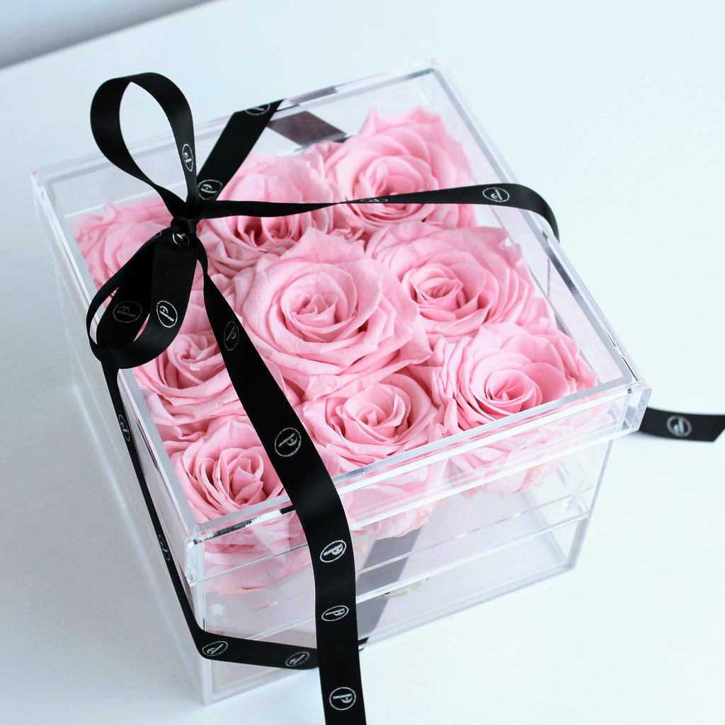 """The NV Nine Keepsake"" 9 Preserved Roses that Last a Year! - Square Box with Drawer"