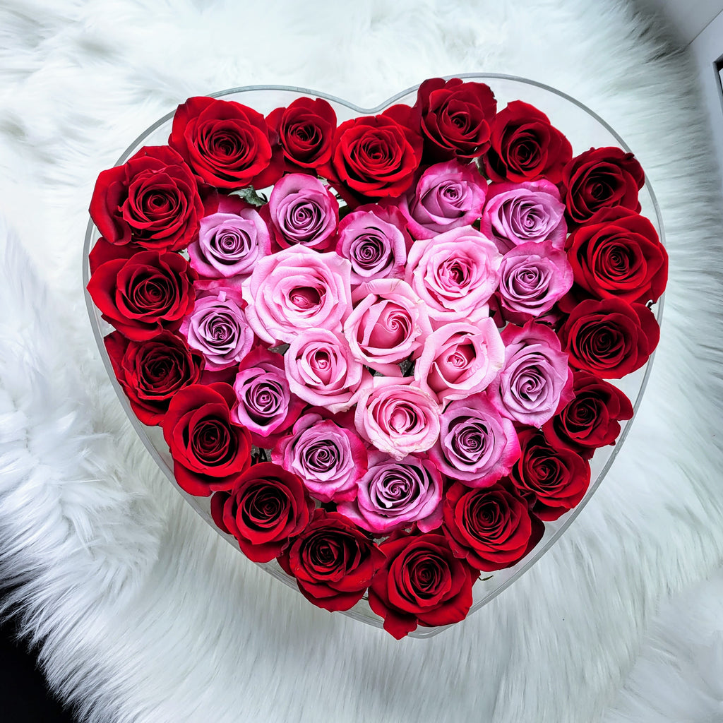 Acrylic Heart of 36 Fresh-cut Roses - Complimentary Delivery in Arlington/DC area!