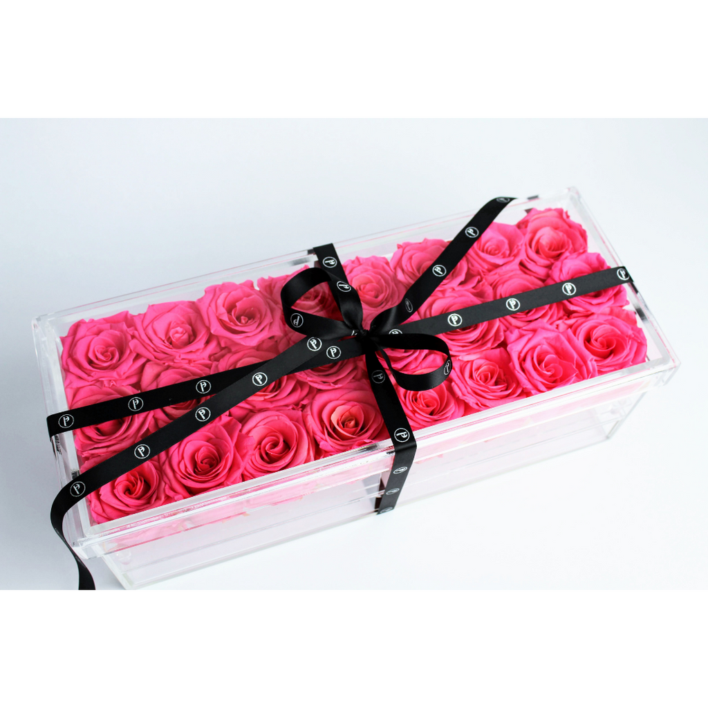 """The Regina Keepsake"" 21-24 Preserved Roses that Last a Year! - Box with Drawer"