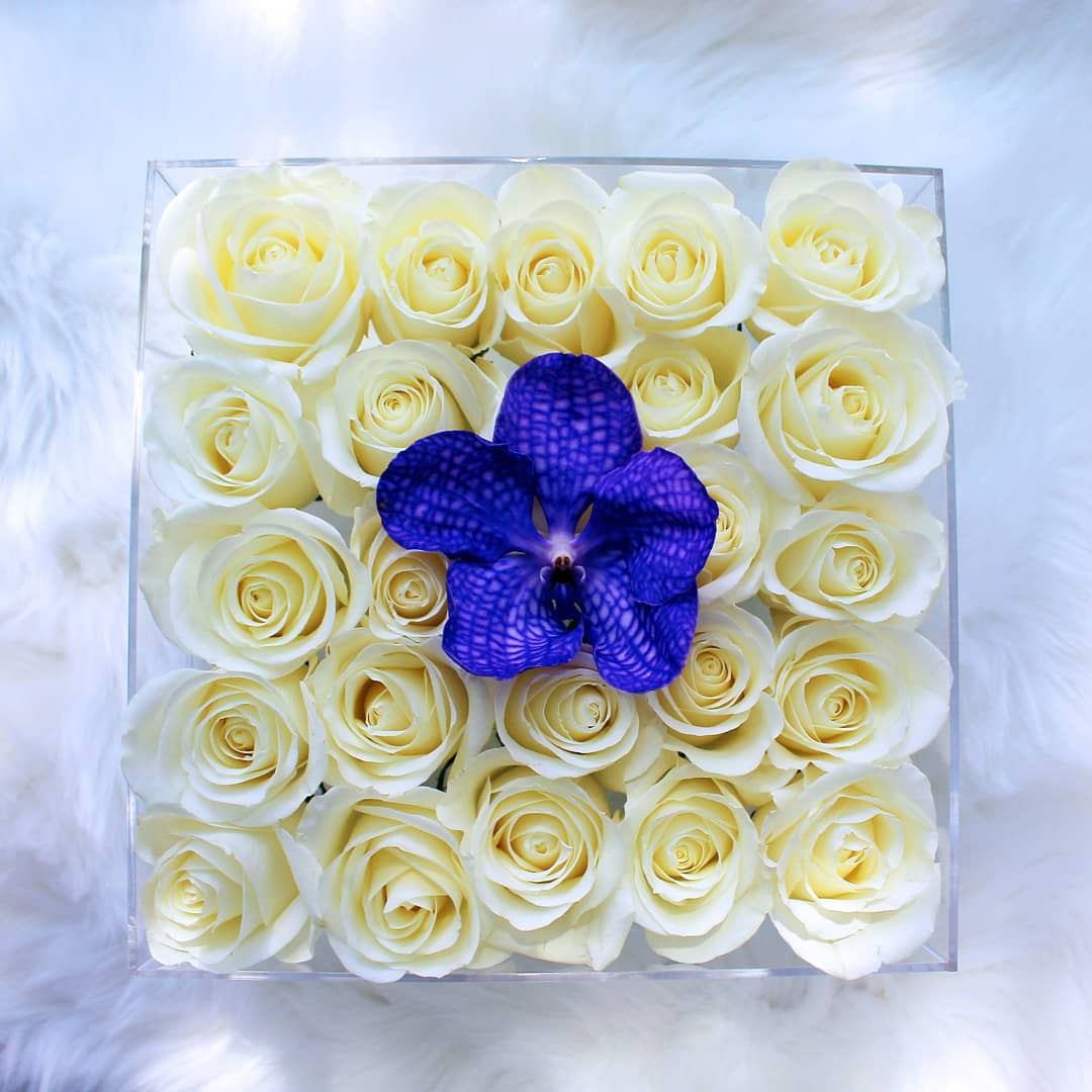 The Saint Deluxe - Beautiful White Roses and Colorful Orchid - Color Variety Available