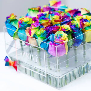 Fresh Cut Rainbow/Unicorn Roses in Square Box or Luxurious Centerpiece