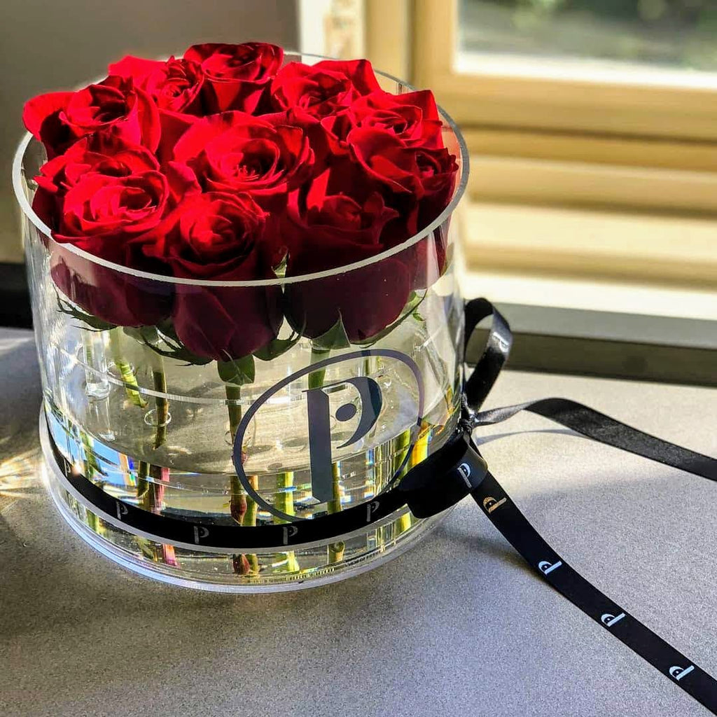 """Arden Collection"" Fresh Cut Roses in Round Acrylic Box - Deep Purple and Red Roses!"