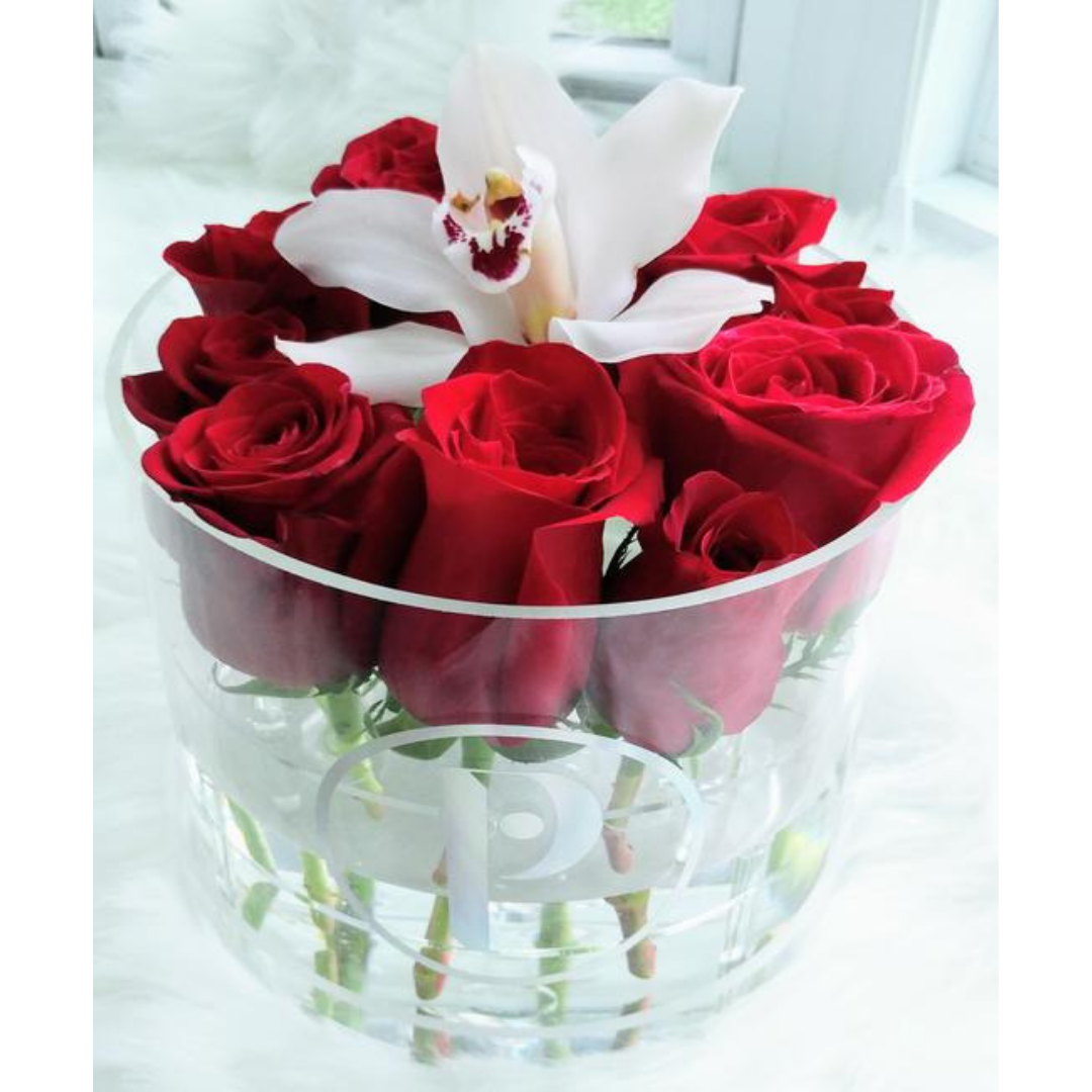 """The Arden Saint"" - Fresh Cut Roses and Orchid in a Round Acrylic Box - Other Colors Available"