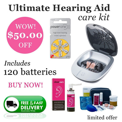 Hearing Aid Ear Mould Wax Clean PowerOne P10 (120 QTY) UV Dryer Hygiene Bundle