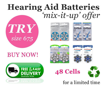 MIX SIZE 675 Hearing Aid Batteries (48 QTY) PowerOne iCellTech ZeniPower Rayovac