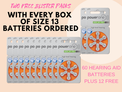 Power One Hearing Aid Batteries SPECIAL OFFER - Get 2 Packs of Hearing Aid Batteries Free With Every Box - Hear for Less