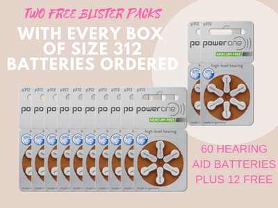 Power One Hearing Aid Batteries SPECIAL OFFER - Get 2 Packs of Hearing Aid Batteries Free With Every Box