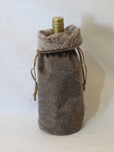 Brown Faux Fur Wine Bag