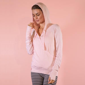 Bamboo Crossover Hoodie Pink