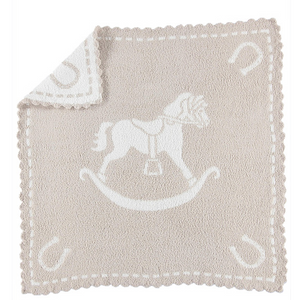 Barefoot Dreams Scalloped Receiving Blanket Horse