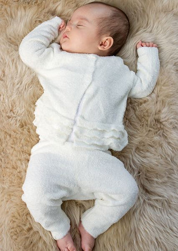 Barefoot Dreams Infant Girl Heirloom Cardi & Pant Pearl 3-6m.XS