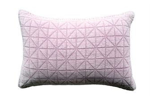 "Cotton & Velvet Quilted Pillow 24"" x 16"" Lilac"