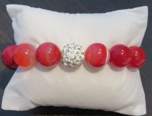 Power Beads by Jen Agate Red Stripe Pave