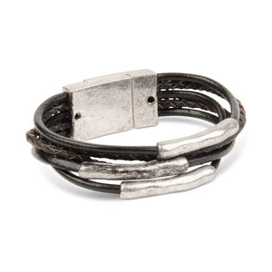 KK Silver Black Leather Magnetic Bracelet