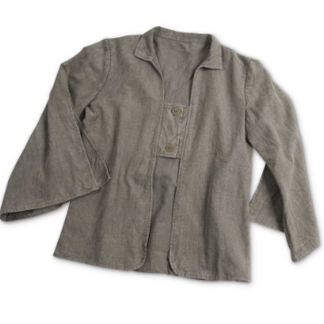 Grey Two Button Tab Washed Jacket