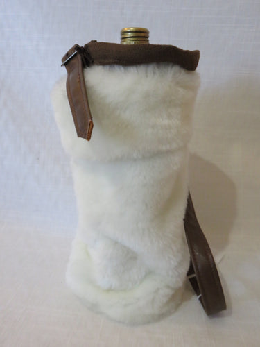 White Fur Wine Bag