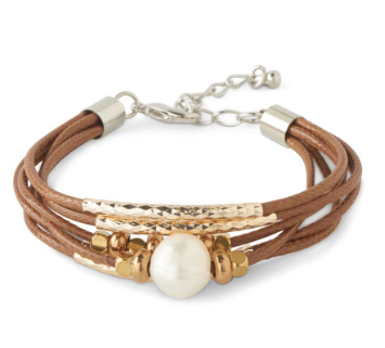 Gold Silver and Brown 6 Strand Natural Pearl Bracelet