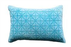Cotton & Velvet Quilted Pillow, Duck Egg