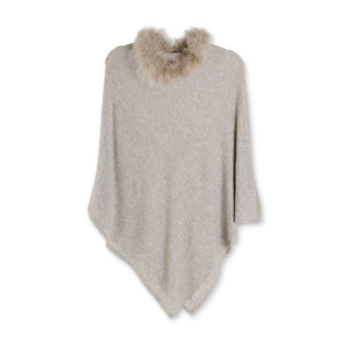 Tan Poncho with Brown Fur Collar