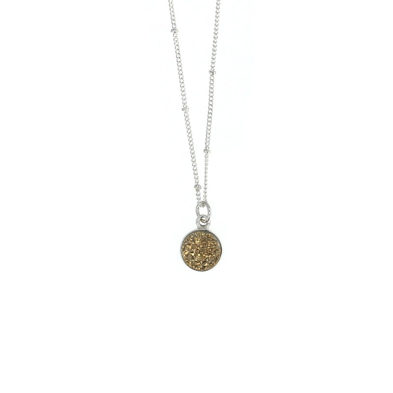 Lotus Gold Druzy Luster Necklace Silver