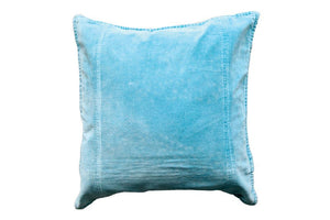 "Cotton & Velvet 18"" Square Pillow Duck Egg"