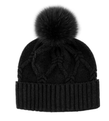Pom Pom Fox Wool Knit Black Hat