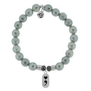 TJ Grey Agate Stone Bracelet w/ Continue Sterling Silver Charm
