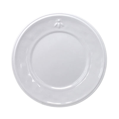 Le Cadeaux Bistro Bianco Dinner Plate with Embossed Bee Design, Set of 4
