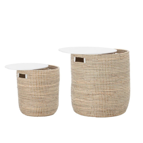 Natural Seagrass & Wood Tables/Storage, Set of 2