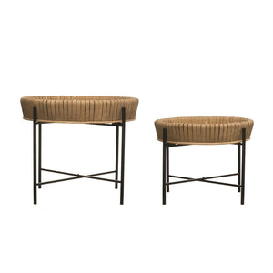 Round Bamboo Tray Tables w/ Removable Trays & Metal Legs, Set of 2