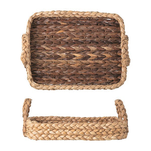 Hand-Woven Seagrass Tray w/ Handles, Natural