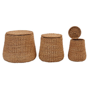 Woven Water Hyacinth & Rattan Baskets w/ Lids, Set of 3