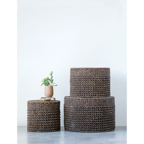 Natural Woven Water Hyacinth Ottomans/Tables in Black, Set of 3