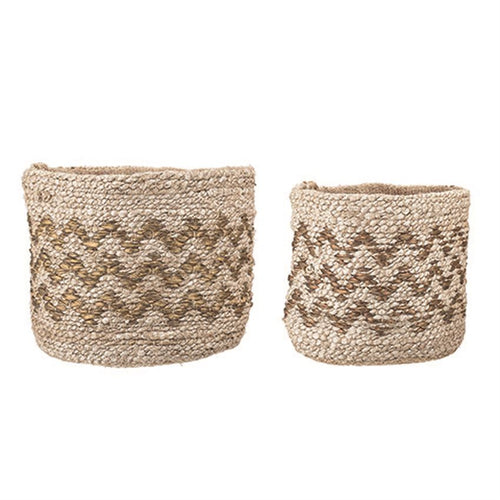 Hand-Woven Jute Baskets w/ Gold Metallic Chevron Pattern, Set of 2