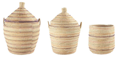 Woven Grass Baskets w/ 2 Lids, Set of 3
