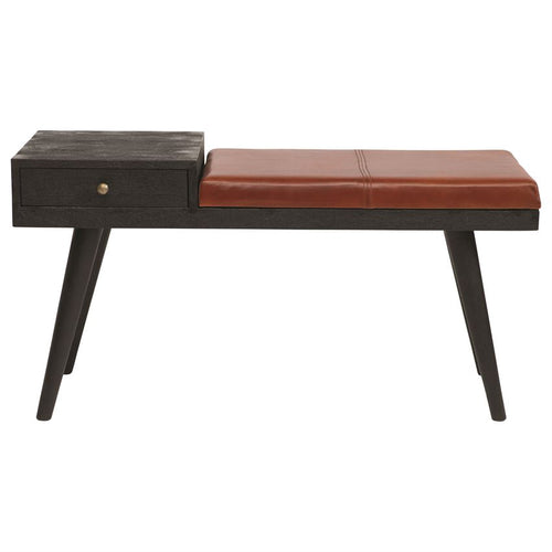 Mango Wood Bench w/ Leather Cushion & Drawer, Black & Natural