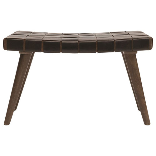 Mango Wood & Woven Leather Bench